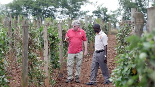 Craig Yencho and Bernard Yada research farm in Uganda